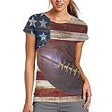 Estilo Vintage Bandera Americana Fútbol Mujeres Casual Camiseta Manga Corta Túnica Tops Cuello Redondo Blusa Cómodo