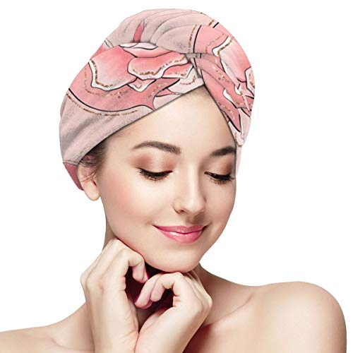 Garden Roses Flamingo Leaves Graphic Microfiber Dry Hair Cap for Bath Spa Soft Super Absorbent Quick Drying Towel Wrap Wet Hair Turbans 11¡± X 28¡±