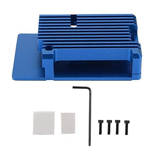 ASHATA behuizing van aluminiumlegering voor Raspberry Pi 4, metalen behuizing met koellichaam, externe sleuf, ingebouwde hete kolom voor Raspberry Pi 4, blauw