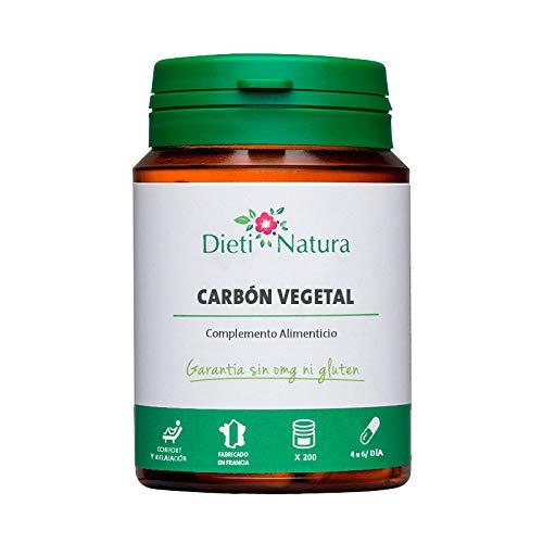 Carbón Vegetal Activado 200 cápsulas de Dieti Natura. Confort digestivo [Fabricado en Francia][Garantía Sin OGM ni Gluten] (Bote de 200 cápsulas)