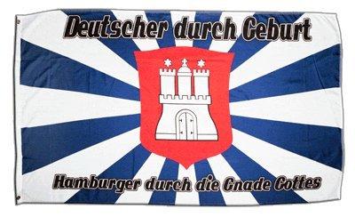 Fahne / Flagge Hamburg Hamburger durch die Gnade Gottes + gratis Sticker, Flaggenfritze®