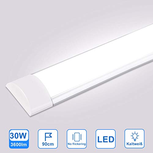 Ledlamp voor vochtige ruimtes, plafondlamp, led-buis, badlamp, kastlicht voor badkamer, woonkamer, keuken, garage, magazijn, kelder, werkplaats, hobbyruimte, energieklasse A +