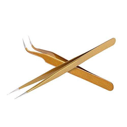 Anself 2St Wimpernpinzette Set aus Edelstahl Ink. Gebogen Pinzette+Spitzpinzette