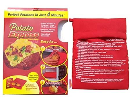 Borsa per patate da cucina Express per microonde, colore rosso