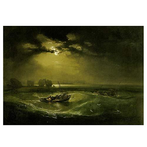Sanwooden William Turner: Fischer auf See Ölgemälde Leinwandbilder Drucke Wandkunst für Wohnzimmer Schlafzimmer Dekor -50x70cm Kein Rahmen