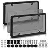 2 pack license plate covers,license plate frames with screw caps,licence plate protector (smoked