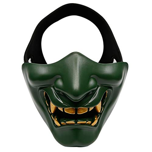 BEECM Mask Scary Half Face Non-toxic Cosplay Samurai Anonymous Mask for Halloween Party Festival Ideal Costume Party Decorations