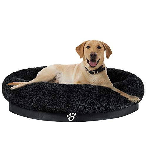 MFOX Calming Dog Bed | Plush Orthopedic Joint Relief Crate Lounger or Donut Pillow Bed, Machine Washable + Removable Cover