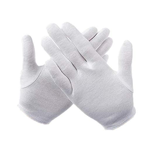 KUNSE Abeso A6001 2 Paar Weiß 100% Baumwolle Zeremonielle Handschuhe Für Männliche Weibliche Servier Kellner Fahrer Handschuh-M