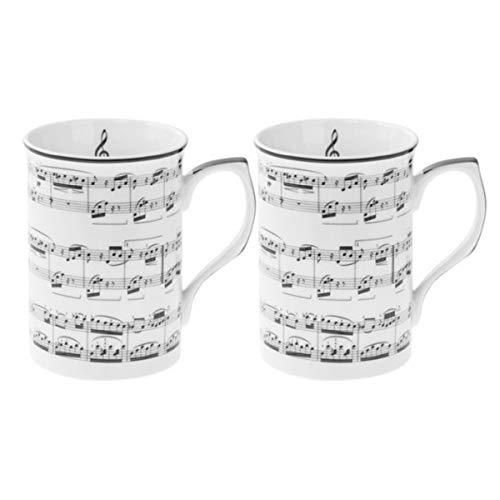 Les Trésors De Lily [Q6459 - Coffret 2 Mugs Porcelaine 'Musique' Blanc Noir - 10x7.5 cm