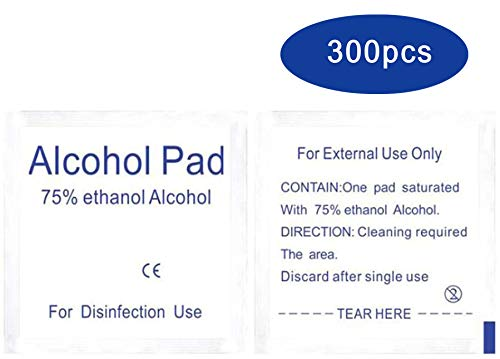300 Pcs Alcohol Wet Wipe Disposable Disinfection Prep Swap Pad Antiseptic Skin Cleaning Care Jewelry...