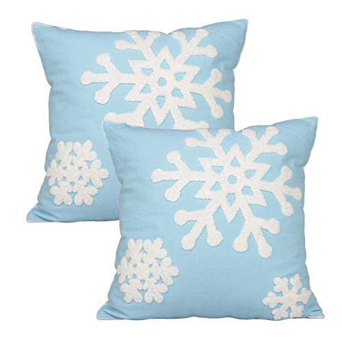 Elife Soft Square Christmas Snowflake Home Decorative Canvas Cotton Embroidery Throw Pillow Covers 18x18 Cushion Covers Pillowcases for Sofa Bed Chair (1 Pair, Sky Blue)