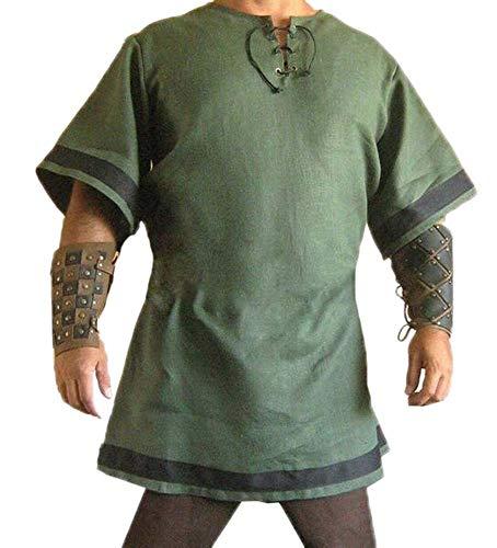 Heren middeleeuwse Viking tuniek kostuum lange shirt piraat kostuum