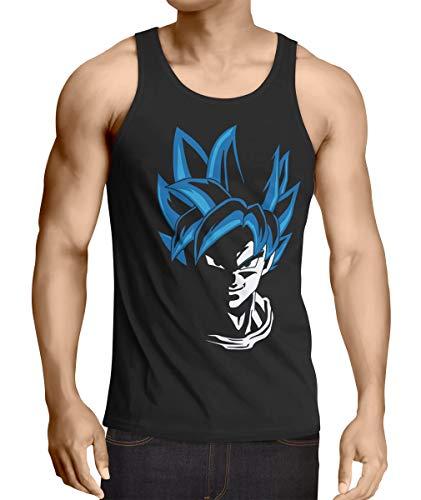 style3 Super Goku Blue God Mode Débardeur Homme Tank Top, Taille:L, Couleur:Noir