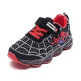 HAOYUXIN Zapatos Deportivos de Dibujos Animados de Spiderman con luz LED para niños, Zapatillas Ligeras y Transpirables Informales para niños,Black-33EU