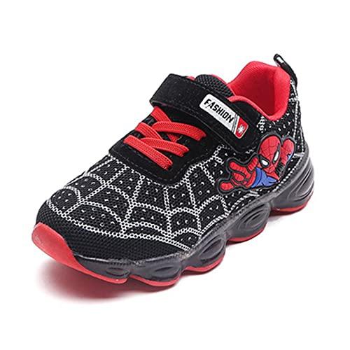 HAOYUXIN Zapatos Deportivos de Dibujos Animados de Spiderman con luz LED para niños, Zapatillas Ligeras y Transpirables Informales para niños,Black-24EU