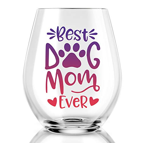 Best Dog Mom Ever Funny Stemless Wine Glass, Dog Lover Gifts for Dog Dad, Dog Mom, Women, Veterinarian, Animal Rescue, Vet Tech, Perfect for Birthday, Valentines