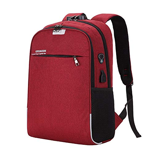 DC Wesley Red Men's Women's Headphones Hole/USB/Lock Computer Bag Backpack Business Leisure Travel Outdoor Fashion