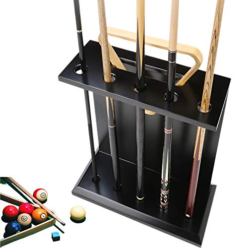 AILILI Cue Rack -Billard-Queue-Halter,Queue-Ständer,Eichen,für 5 Queues,Homeschool-Club,Billard Zubehör,Pool Queue Rack Schwarz 600x500x200mm