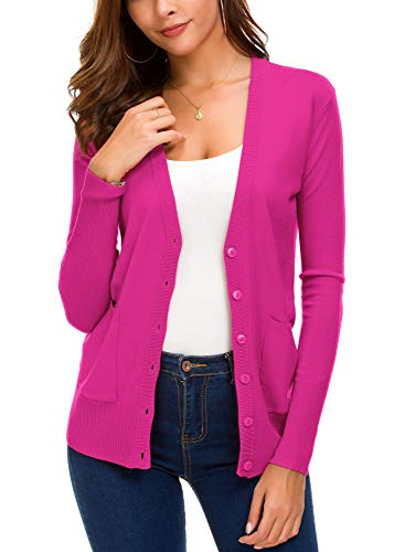Women's Front Cardigan Button Down Knitted Sweater Coat with Pockets (S, Rose)