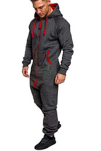 Amaci&Sons Herren Overall Jumpsuit Jogging Onesie Trainingsanzug Camouflage 3004 Anthrazit/Rot S