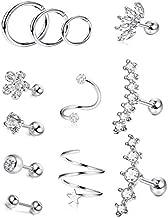 SAILIMUE12Pcs Stainless Steel Cartilage Earrings Hoops for Women Helix Piercing Tragus Conch Screw Earrings Flower CZ Barbell Ear Cartilage Piercing Set (16G)
