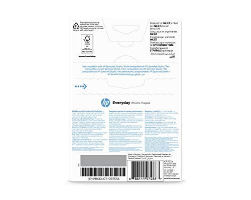 HP Everyday Photo Paper, CR757A, 100 hojas de papel fotográfico brillante avanzado, compatible con impresoras de inyección de tinta, 10 x 15cm, peso del material de impresión 200 g/m²