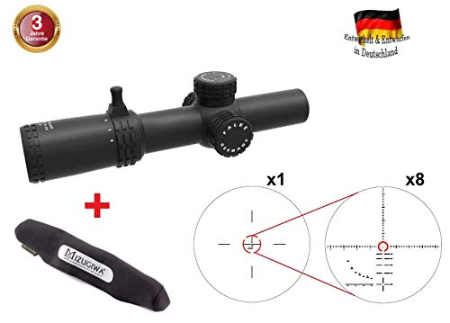 FALKE Premium Zielfernrohr 1-8x26 Pro mit SAS Absehen, beleuchtet, 34 mm Mittelrohr-Durchmesser, Red-Dot und ZF in einem