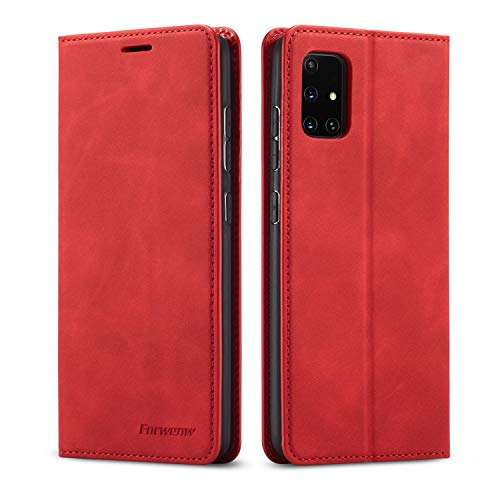 EYZUTAK Premium PU Leather Flip Folio Case for Samsung Galaxy A21S, Protective Case with Kickstand Card Slot Magnetic Closure Shockproof Wallet Cover for Samsung Galaxy A21S - Red