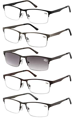 Eyecedar 5-Pack Metal Half-Frame Reading Glasses Men Spring Hinges Stainless Steel Material Include Sun Readers +2.00