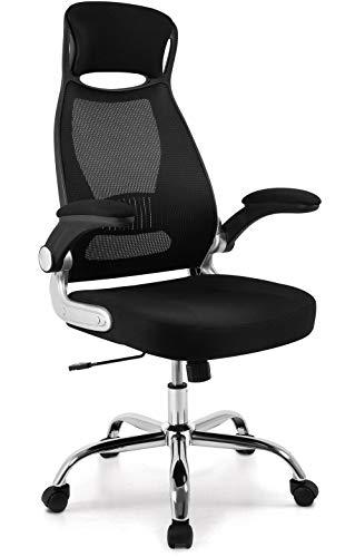 Silla de oficina de malla, silla de dirección con reposabrazos plegables, asiento ergonómico, asiento acolchado, altura ajustable, soporte lumbar, color negro