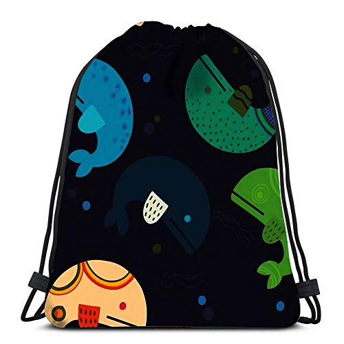 Borse con Coulisse Zaino Infantile con Simpatiche Balene e Forme Bambini creativi Texturewra Zaini da Viaggio Zaino Scuola Tote