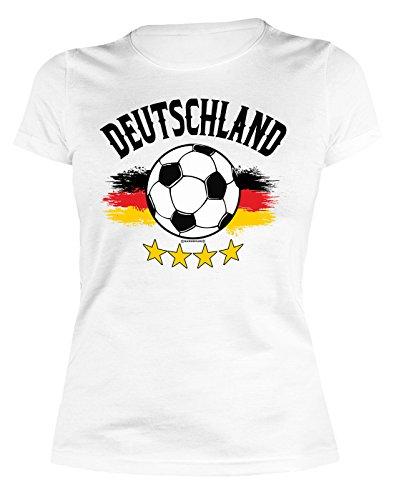 VERI Fussball Deutschland Damen Fan T-Shirt Deutschland Fahne Bundesliga Fussballfan weiss Trikot bedruckt Gr. S :-