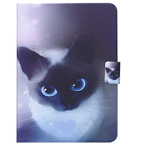 compatible avec Galaxy Tab 3 10,1 Shell Clapet Populaire Housse de Protection,Ekakashop Jolie Yeux Bleu Chat Motif Cuir Tablette à Rabat Magnétique compatible avec Samsung Galaxy Tab 3 10,1 P5200