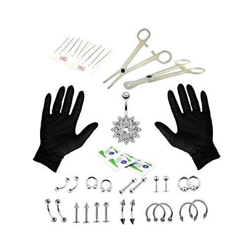 Canjerusof Body Piercing Kit 14G 16G-Bauch-Ring Labret Zunge Mix Schmuck Piercing professionelle Kit 1Set