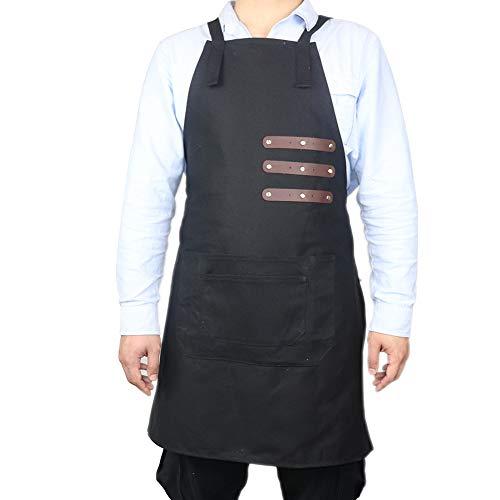 TUYU Leder-Schweißschürze, 16 Unzen gewachste Segeltuch-Werkzeugschürze, Tischlerschürze, Arbeitsschürze für Küche, Garten, Keramik, Handwerk, Werkstatt, Garage TYDWQ102 (schwarz)