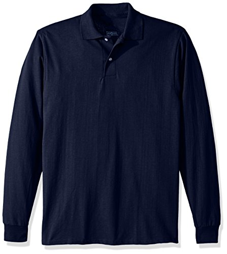 Jerzees Men's Spot Shield Long Sleeve Polo Sport Shirt, JNavy, X-Large
