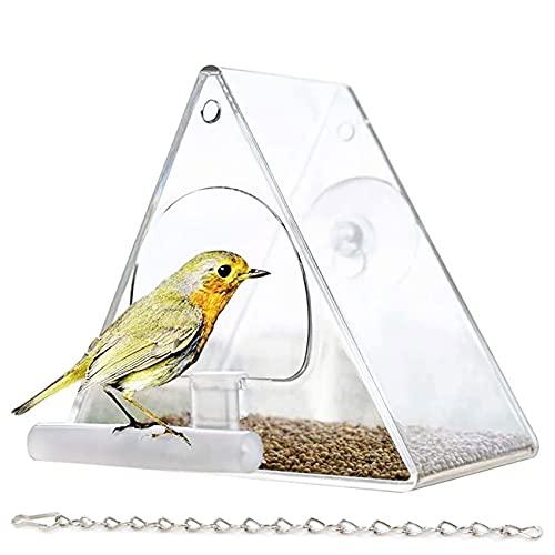 Fenster Vogelfutterhaus Futterhaus transparent Vogelfutterhaus Vogelfutterspender mit Metallkette und Saugnäpfen, Futterspender für Kleine bis Mittelgroße Vögel Draussen Vogelfütterer