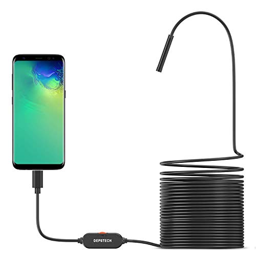 USB Endoscope Camera, DEPSTECH 720P IP67 Waterproof Borescope, 5.5mm Snake Inspection Camera, Type-C Scope Camera with 16.5ft Semi-Rigid Cable, 6 LED Lights, Compatible with OTG Android Phone, PC