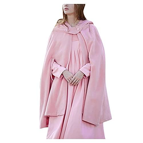 Zldhxyf Capa suelta con capucha para mujer, para otoño e invierno, para bodas, Rosa., XL