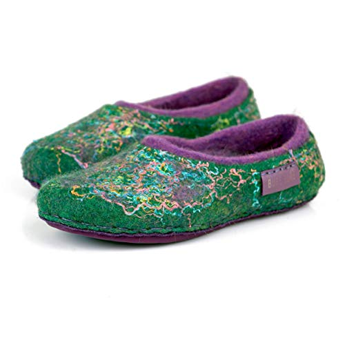 BureBure Warm 2 Layered Green Purple Wool Slippers for Women