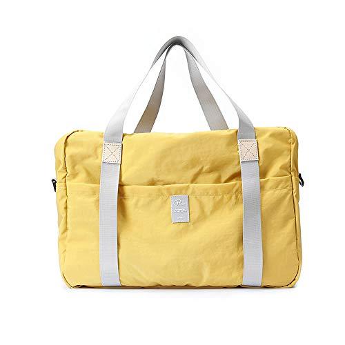 旅行バッグ 折りたたみ旅行バッグ トートバッグ 手提げ 折畳 トラベルバッグ トラベル鞄 スーツケース対応 キャリーに通せる多機能 トラベルバッグ キャリーケース 旅行カバン ボストンバッグ キャリーオン 収納バッグ (イエロー)