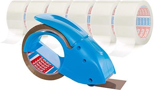 Tesa Packband Handabroller Pack 'n' Go, Blau, inkl. 1 Rolle tesapack PP in braun, 50m:50mm (+ 6 Rollen transparent)