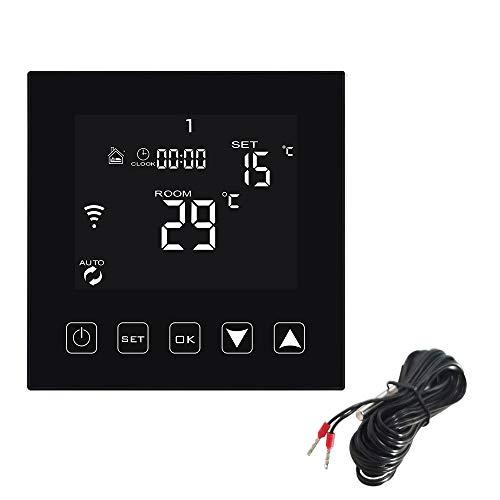 KETOTEK Thermostat WiFi für Elektrische Fußbodenheizung mit Bodensonde, Alexa Echo Google Home IFTTT Tuya Kompatibel, Programmierbarer Raumthermostat Smart Sprach und APP Steuerung 16A Schwarz