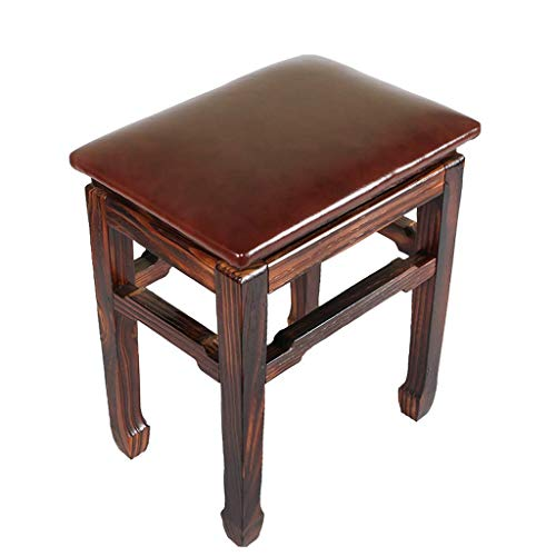 Sturdy stool - Kleine kindermode, vierkante kleine bank, creatief lederen kruk, volwassen woonkamer, massief hout, schoenbank, een verscheidenheid aan kleuren (kleur: bruin) (Color : Brown)