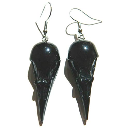 Lightweight Bird Skull Earrings Black Acrylic Raven Crow Head on Stainless Steel Ear Hooks Gothic occult