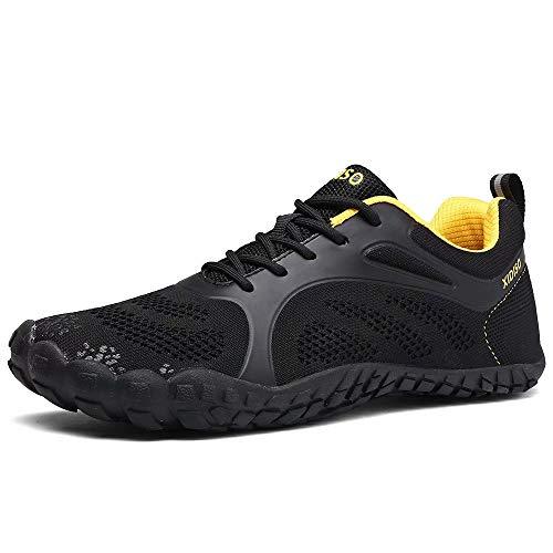 FUSHITON Herren Damen Barfußschuhe Outdoor Fitnessschuhe Trekking Schuhe Badeschuhe Schnell Atmungsaktive Trocknend rutschfeste Laufschuhe, Schwarz, 43 EU