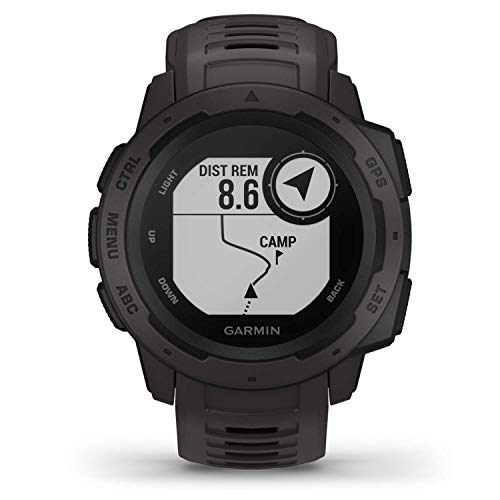 Garmin 010-02064-00 Instinct, Rugged Outdoor Watch with GPS, Features Glonass and Galileo, Heart Rate Monitoring and 3-Axis Compass, Graphite