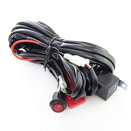 Jeu de Faisceaux de câbles de Barres Lumineuses LED 14AWG Fusible de Lame de Relais de Puissance pour Interrupteur Marche/arrêt 12V pour Barre de Travail à LED - Noir