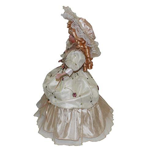 Toygogo 40cm Viktorianisches Porzellan Weibliche Puppe Figuren In Beige Kleid Hut Home Decor - Beige
